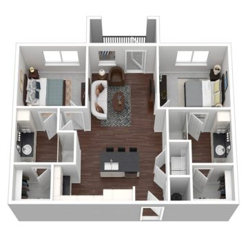 Rendering of the Cabana I floor plan layout